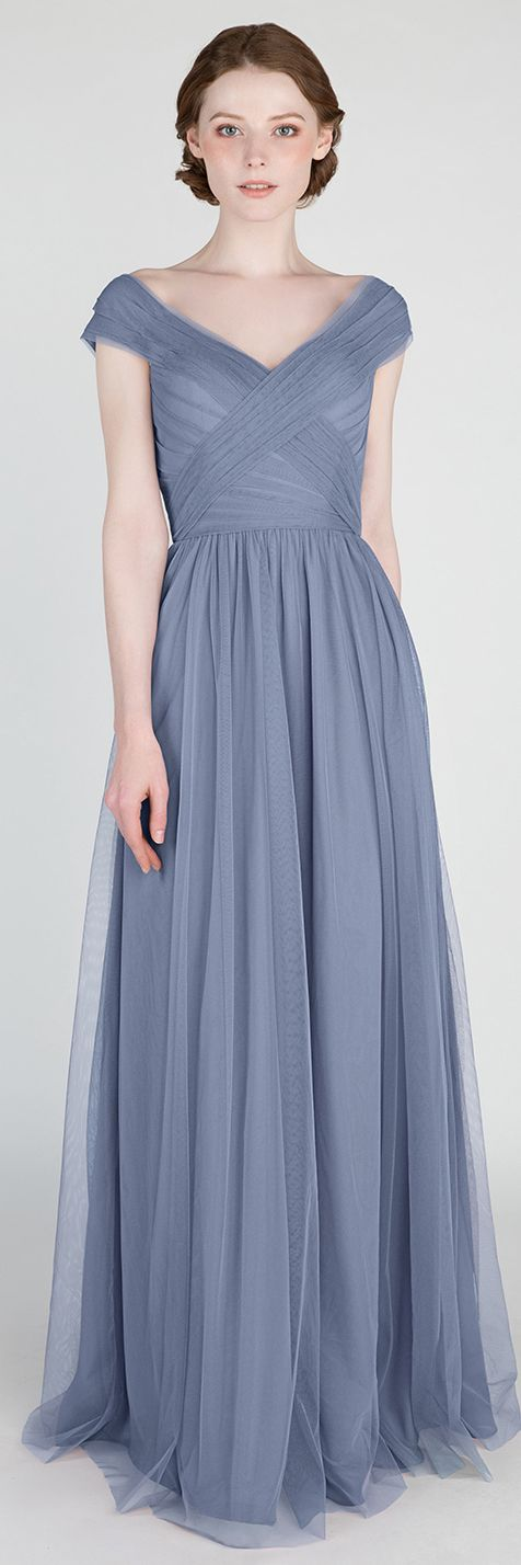 dusty blue v neck tulle bridesmaid dresses #bridesmaiddress #bridalparty #weddingdress #blueweddings