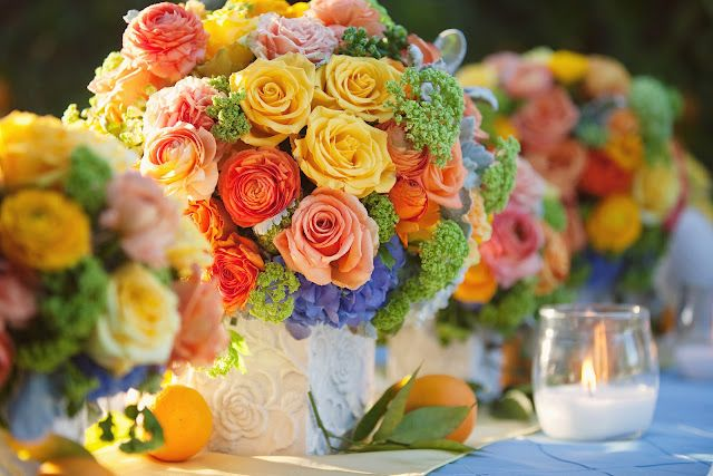 summer wedding reception: Summer Flowers, Citrus Wedding, Summer Wedding, Orchards Wedding, Wedding Colors, Blue Wedding Flowers, Summer Colors, Heavens Bloom, Bright Colors
