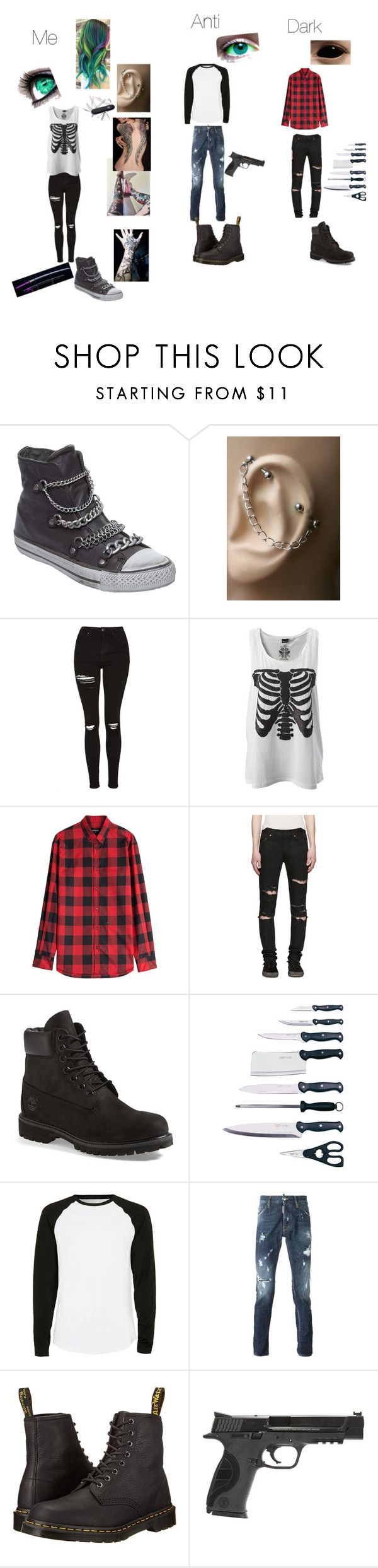 """""""Antisepticeye, darkiplier and me"""" by kitanadt ❤ liked on Polyvore featuring Ash, Topshop, Victorinox Swiss Army, Dsquared2, Yves Saint Laurent, Timberland, BergHOFF, Topman, Dr. Martens and Smith & Wesson"""
