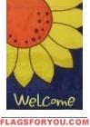 Sunflower Close Up Applique Garden Flag