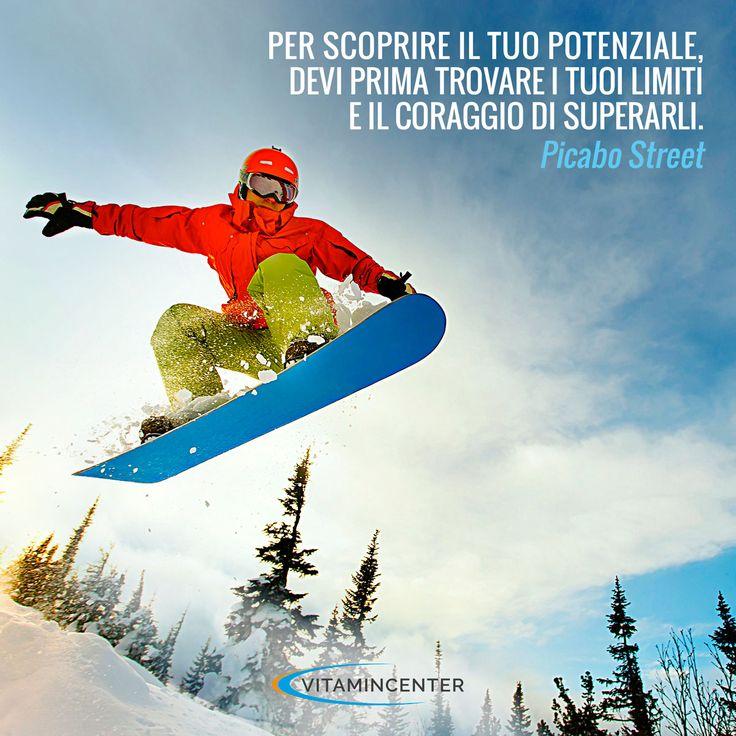 Per scoprire il tuo potenziale, dei prima trovare i tuoi limiti e il coraggio di superarli. Picabo Street #motivationmonday #fitness #sport #quotes #frasi #motivazionali #skateboard