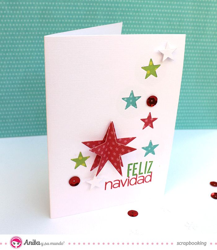 Tarjeta de Navidad hecha con papeles de Anita y su mundo scrapbook