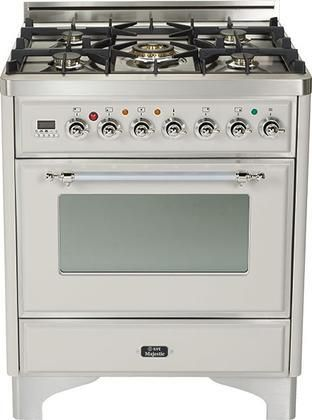"""UM-76-DMP-IX 30"""" Majestic Series Freestanding Dual Fuel Range with 5 Sealed Burners 3.0 cu. ft. Primary Oven Capacity Convection Oven Warming Drawer Chrome Trim in Stainless Steel"""