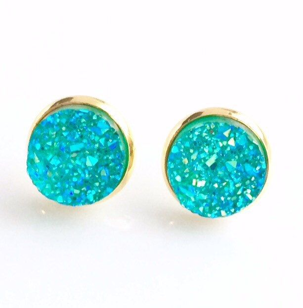 Turquoise Blue Druzy Gold stud earrings - 12 mm faux druzy stud earrings , bridesmaid gift Canada by AnisasClayCreations on Etsy https://www.etsy.com/ca/listing/450280556/turquoise-blue-druzy-gold-stud-earrings