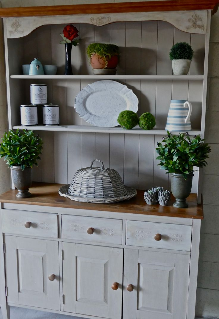 Hutch Dresser Revived With Newtons Chalk Finish Paints In Beige And Aged White Embellished