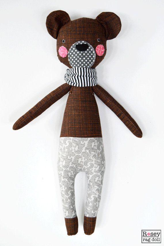 bear rag doll: Berkeley, rosey rag doll, modern