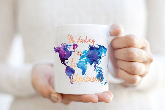 Oh Darling Let's Be Adverturers Coffee Mug - Watercolor World Map Wanderlust Gypsy Travel Boho Cup - Purple / Blue travel gift | Adventure