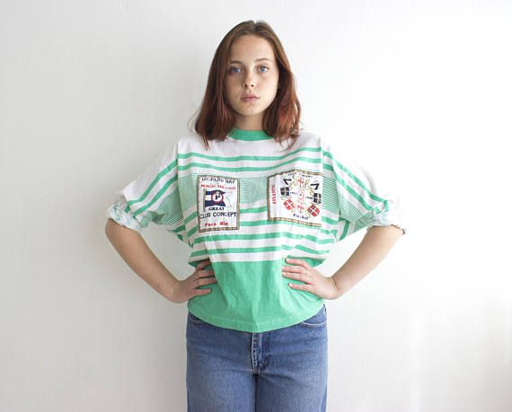 80s Striped Top, Vintage Patched Shirt, White Green Batwing Top, Nautical Style T Shirt Size M Medium