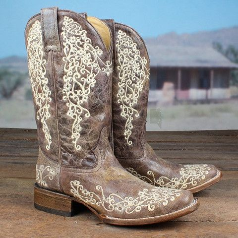 Corral Ladies Crater Bone Embroidery Square Toe Boot A2663   Cowby Boots and Western Clothing   Painted Cowgirl Western Store