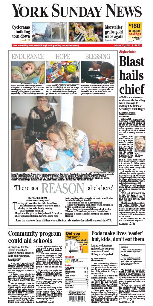 York Sunday News front page March 10, 2013