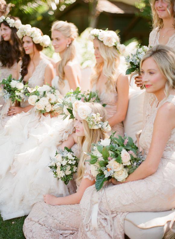 Elegant Ivory Lace Bridesmaids