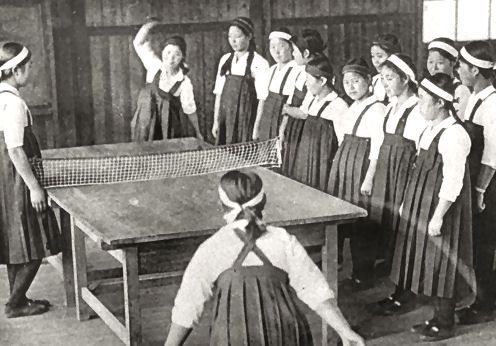 japanese students from Inuyama chouritsu koutou jogakkou 犬山町立高等女学校 (Inuyama Municipal higher girls school) playing table tennis - Aichi prefecture 愛知県, Japan - 1936 Nippon-Graph