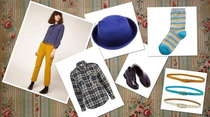 укороченные брюки в винтажном стиле, рубашка в клетку, шляпа, туфли со шнуровкой, носки в полоску, яркий ремень