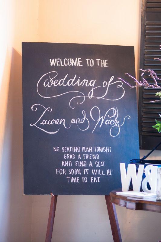Welcome Blackboard for Lauren & Wade @ Chateau Dore Winery