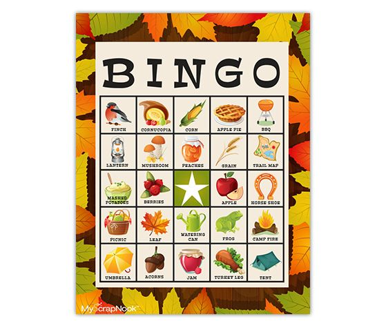 Fall Festival Bingo Cards and other free Bingo printables from MyScrapNook.com for those family gatherings!
