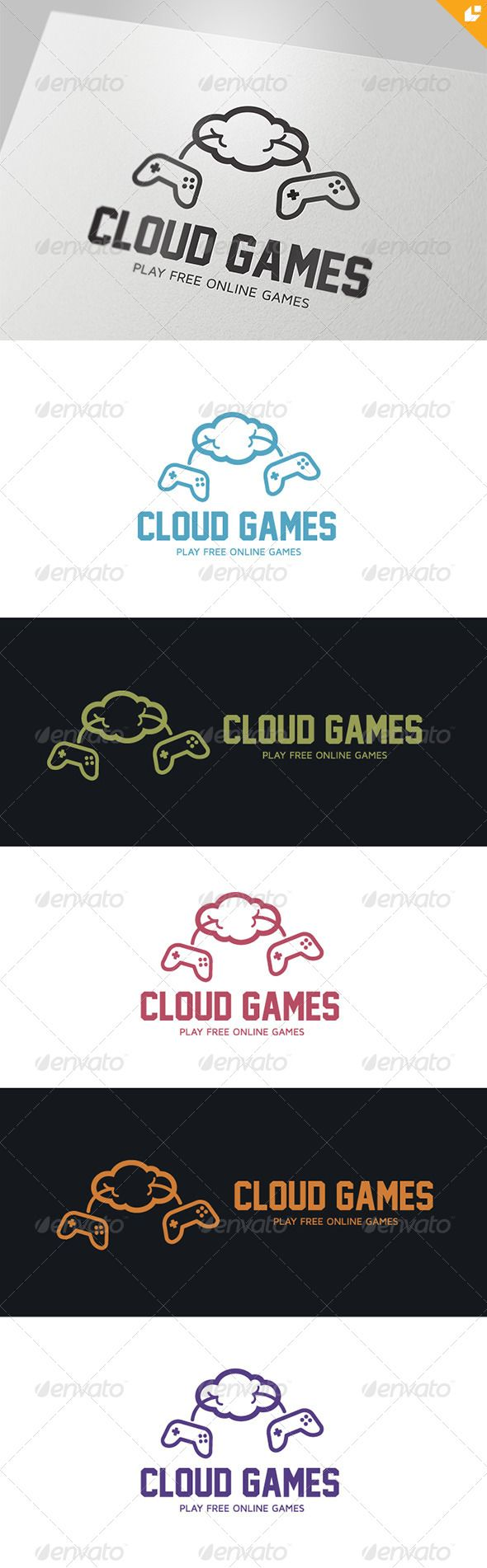 Cloud Games Logo Design Template Vector #logotype Download it here: http://graphicriver.net/item/cloud-games-logo/4375640?s_rank=331?ref=nexion
