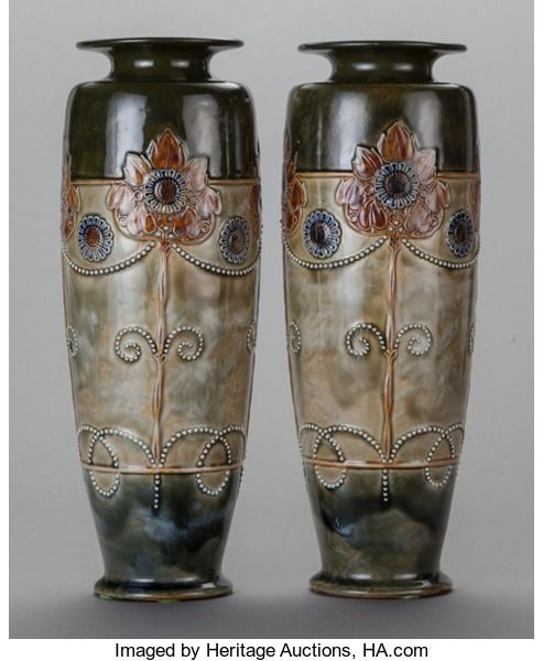 Ceramics Porcelain British Modern 1900 1949 A Pair Of English Art Nouveau Style Pottery Vases Royal Doulton Lambeth England Doulton Pottery In 2019