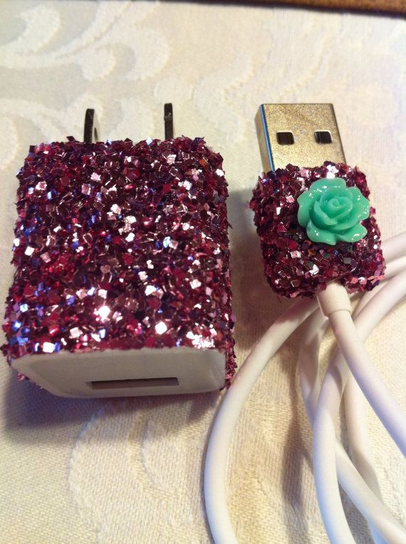iPhone Charger (customized chunky glitter charger) via Etsy