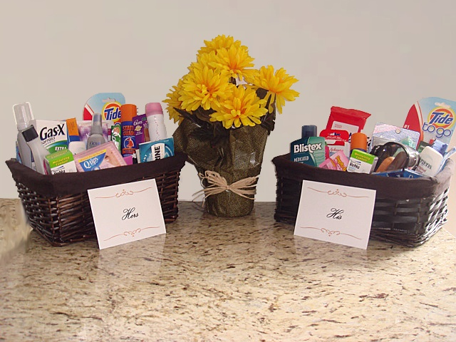 Wedding amenity baskets (great for the wedding reception) and travel kits (perfect for the honeymoon or out of town guests).