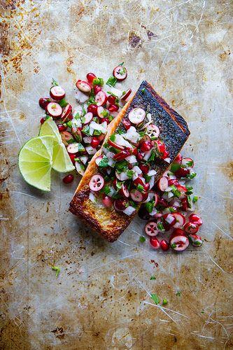 Crispy Salmon with Winter Salsa.