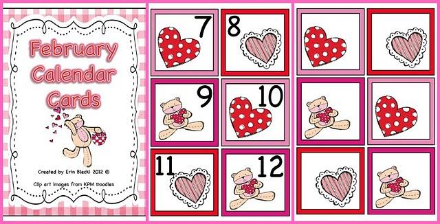 Free February Calendar Cards