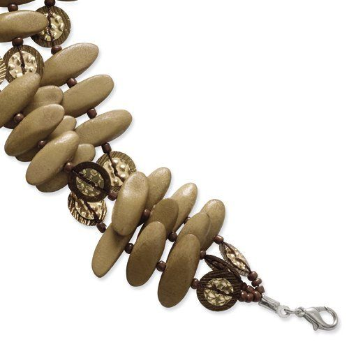 Silver-Tone Wood, Acrylic Bead & Sequin Layered Bracelet Shop4Silver. $16.66