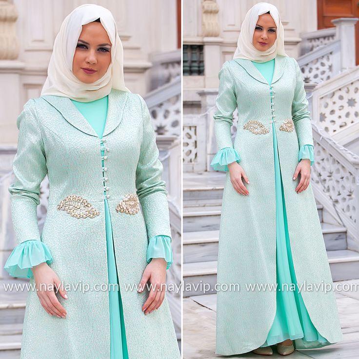 EVENING DRESS - EVENING DRESS - 2225MINT #hijab #naylavip #hijabi #hijabfashion #hijabstyle #hijabpress #muslimabaya #islamiccoat #scarf #fashion #turkishdress #clothing #eveningdresses #dailydresses #tunic #vest #skirt #hijabtrends