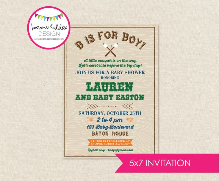 DIY, Camping Baby Shower INVITATION ONLY by LaurenHaddoxDesign on Etsy https://www.etsy.com/listing/204894926/diy-camping-baby-shower-invitation-only