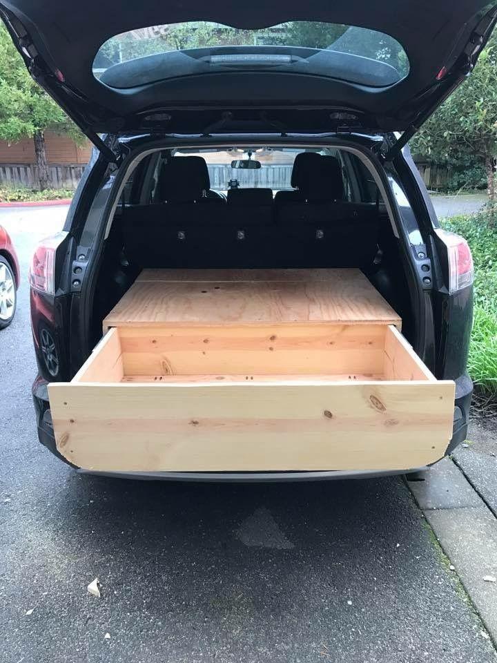 DIY SUV drawer, car camping, storage SUV camping, Car bed, RAV4, Toyota