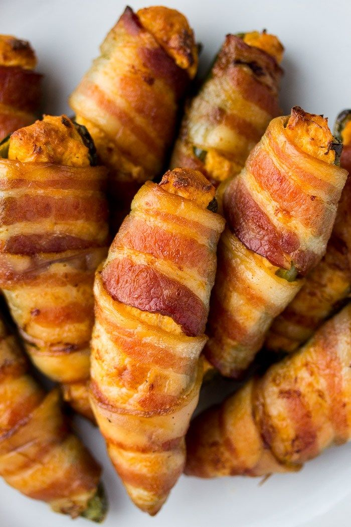 Cooked Bacon Wrapped Buffalo Chicken Poppers recipe