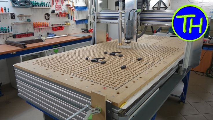 Homemade CNC Router with built-in vacuum table and holes like the Festool MFT table - YouTube