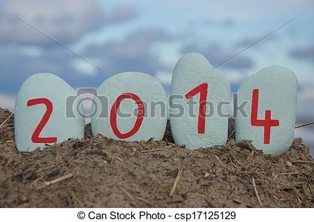 Happy New Year 2014 on white stones