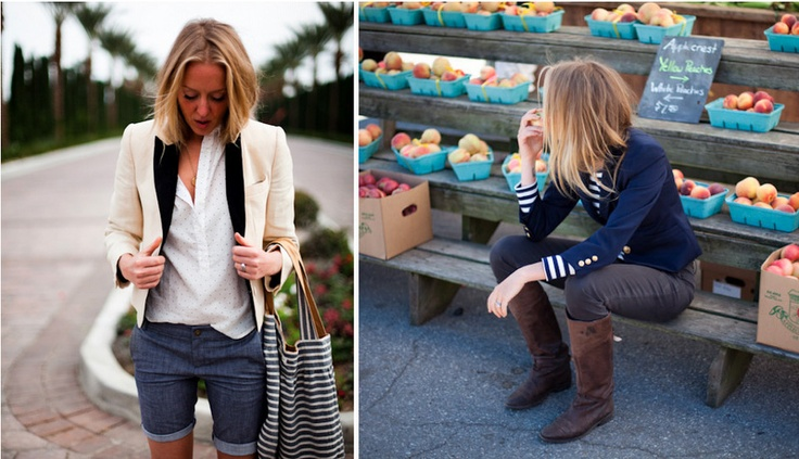 Tomboy: Girls Crushes, Nautical Stripes, Emerson Fry, Emerson Fries, Outfit, Tomboys Style, Riding Boots, Blazers, Denim Shorts