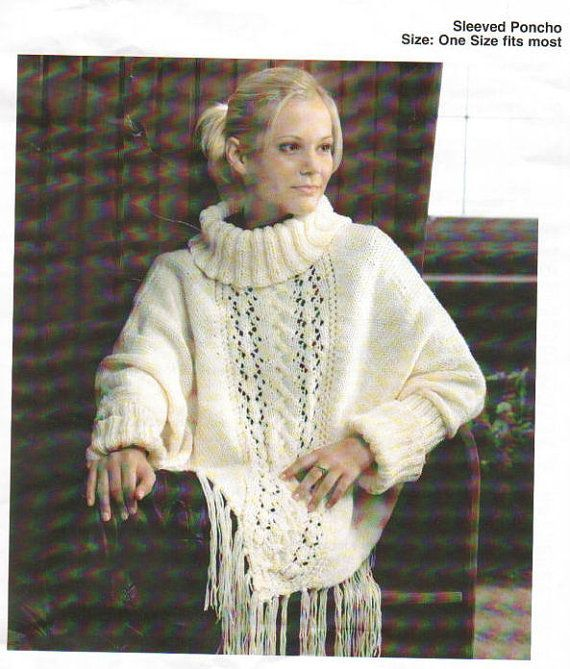Knitting Pattern For Poncho With Sleeves : Knit Poncho with sleeves Vintage Pattern by ...
