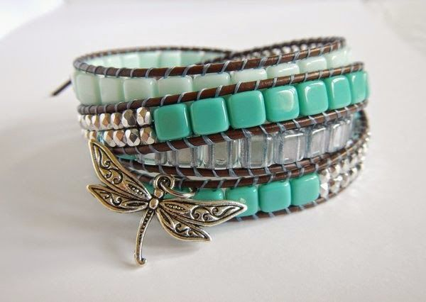 Wrap bracelet with ChechMates Tile beads