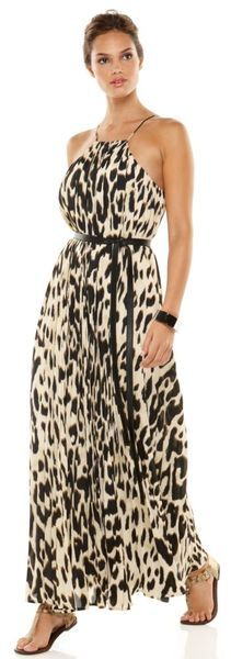 calvin klein animal prints | Calvin Klein Sleeveless Belted Printed Pleated Maxi in Animal - Lyst