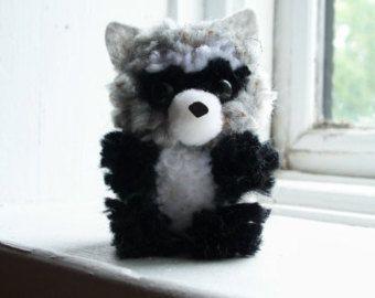 Raccoon Yarn Pom-Pom Animal