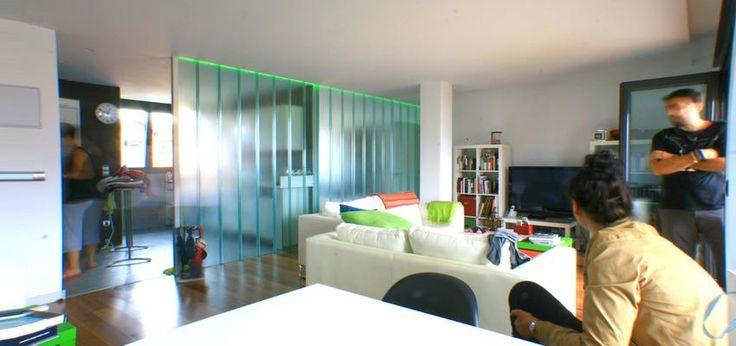 Glass room divider.