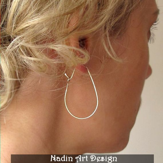 Sterlingsilber Tropfenohrringe / Moderne Creolen von NadinArtDesign auf DaWanda.com