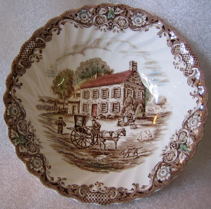 Brown Toile Pennsylvania Fieldstone Carriage Horse Dog Geese Bowl & 295 best Home: Brown Toile Transferware u0026 More images on Pinterest ...