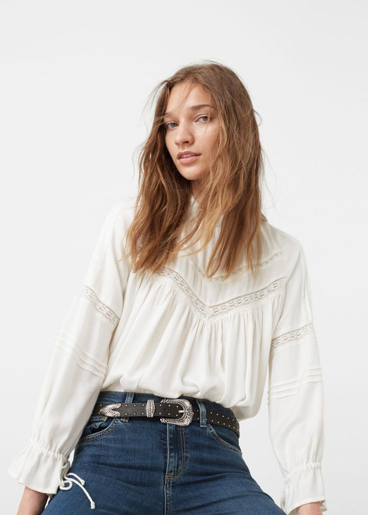 Blonda panel blouse - Shirts for Women | MANGO USA