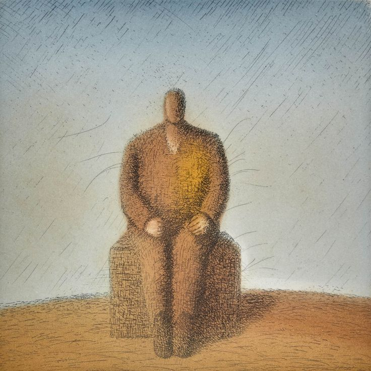 "Garif Basyrov - From the series ""Archaic"" (1989). Paper, coloured etching 200x200"