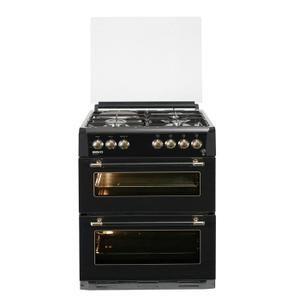 Cuisinière 60x60 - Double four email lisse et convection naturelle - Grill électrique - Table 4 foyers mixte - Coloris Noir