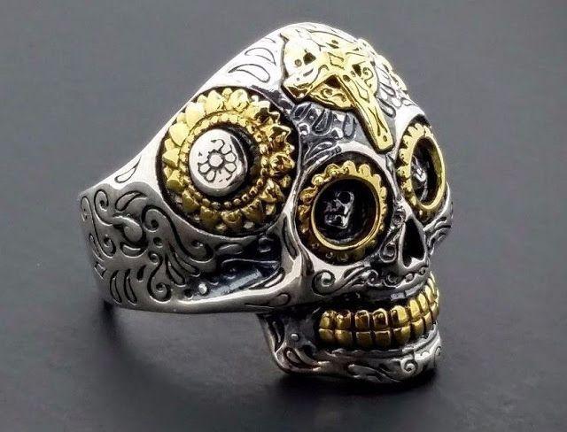 14 best rings images on pinterest rings biker rings and dragons sterling silver gold harley biker day of dead sugar ring skull cross ring sz 95 fandeluxe Gallery