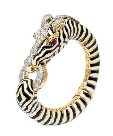 Vintage David Webb zebra bracelet