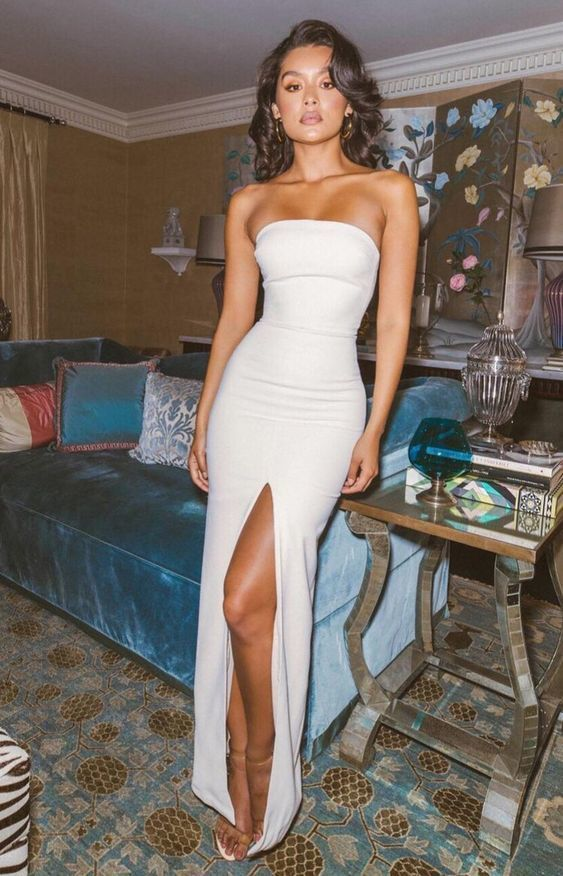 evening Dresses, Party prom dress with slit ,white prom dress