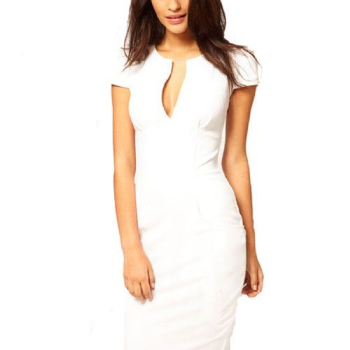 Damen Sexy V-Ausschnitt Stretchkleid Business Pencil Kleid Kurzarm Elegantes Slim Fit Etuikleid Guenstig M,White Fashion Season http://www.amazon.de/dp/B00K74ZW3E/ref=cm_sw_r_pi_dp_4-9Fvb055XYE5