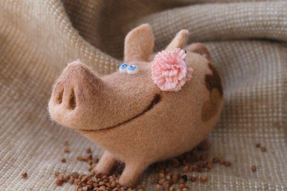 Needle Felted Toy   Pig  Felt Toys van TashaToys op Etsy