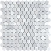 "Carrara (Carrera) Venato Hexagon 1"" Polished Mosaic Tile"