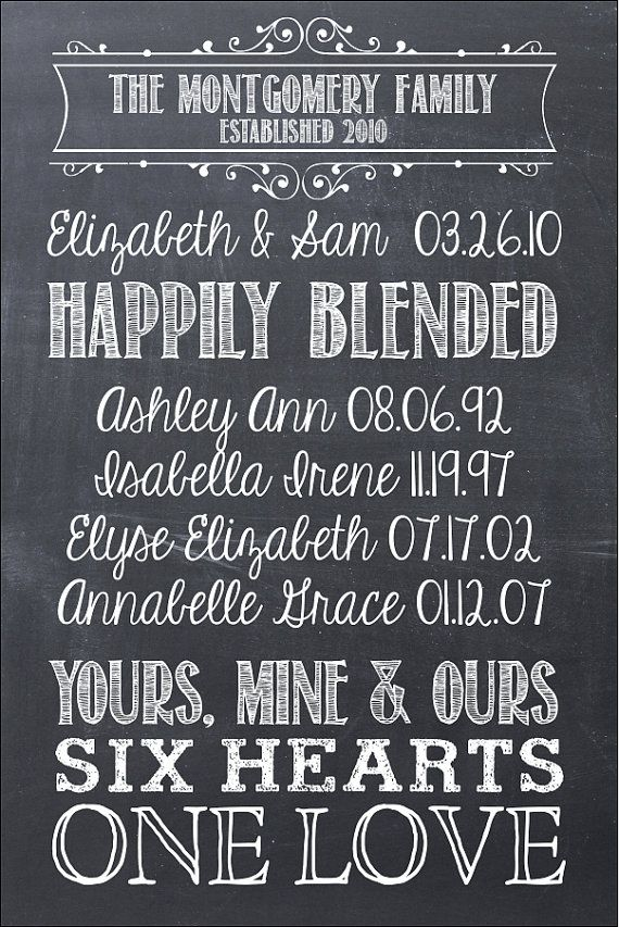 First We Had Each Other 16x24 Chalkboard Modern Design Gallery Wrapped Blended Family Canvas. $100.00, via Etsy.